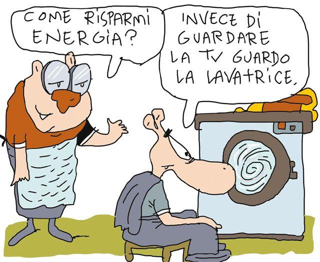 Illustrazione di Rebori - Guardo la lavatrice